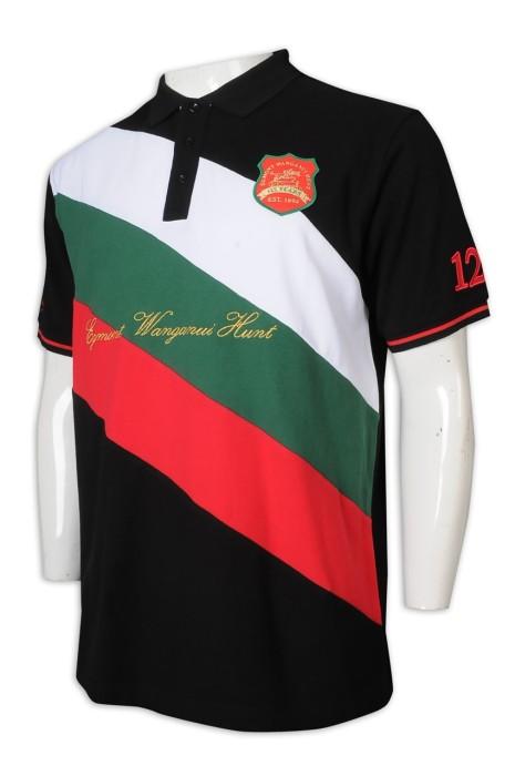 P1214 制訂Polo恤 100%棉 繡花 Logo 拼色 撞色 3粒鈕 翻領 TFS 澳洲 馬術 Polo恤生產商     黑色撞白色、墨綠色、紅色