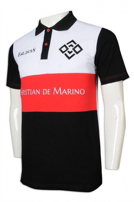 P1218 訂做Polo恤 2粒鈕 撞色領 直袖 拼色 美國 Christian de Marino  Polo恤生產商     黑色撞白色、紅色