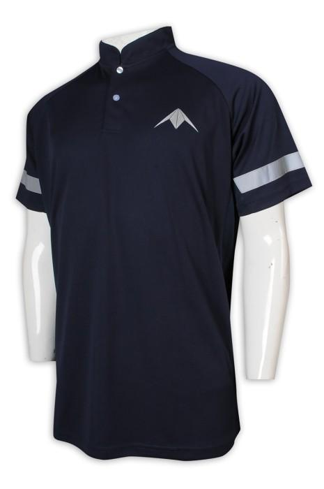 P1221 制訂Polo恤 寶藍色 短袖 男裝 反光條 立領 私人飛機 Polo恤生產商     寶藍色