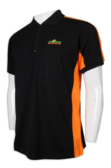 P1223 自訂Polo恤 撞色袖 拉錬 翻領 拼色 旅遊公司 旅行社 導遊制服 Polo恤製造商   黑色