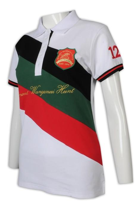 P1225 訂做Polo恤 女裝短袖 5粒鈕 拼色袖口 袖章 印花 繡金 馬術比賽 Polo恤專門店       白色撞裝紅色、墨綠色、黑色