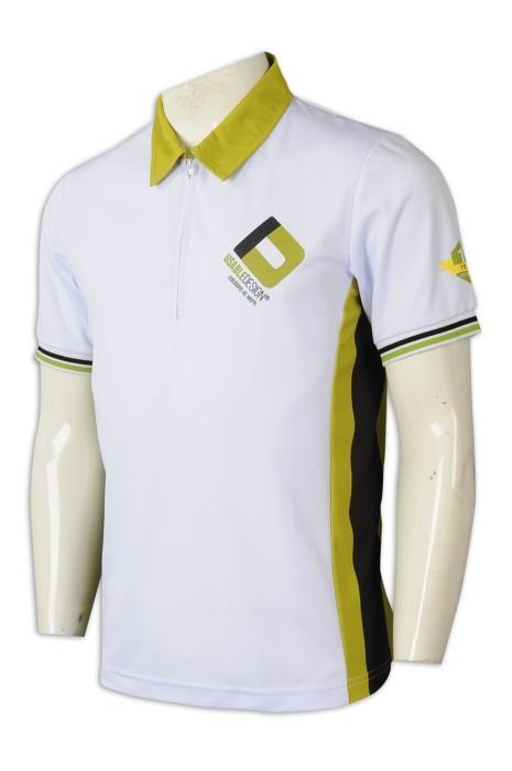 P1226  訂購撞色Polo恤   設計撞色領Polo恤  Polo恤製造商  白色撞綠色