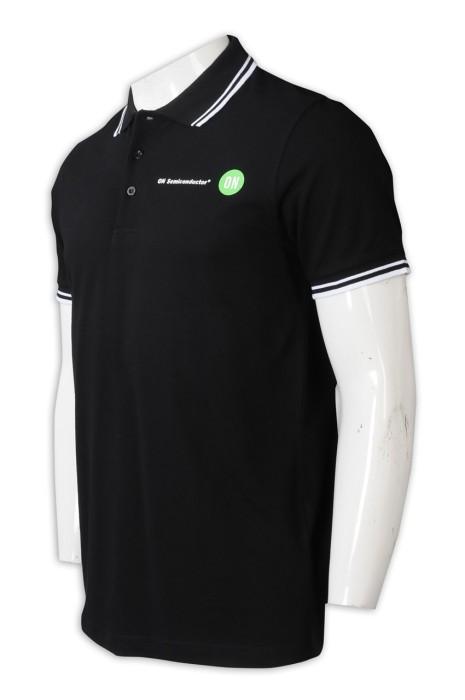 P1227  設計撞色Polo恤   設計撞色領Polo恤   Polo恤製造商   100%cotton   黑色撞色白色