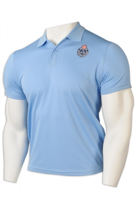 P1233   訂做Polo恤   設計Polo恤    翻領 淨色 印花 logo  2粒鈕  Polo恤生產商    粉藍色
