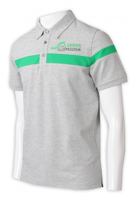 P1310   來樣訂製淨色Polo 設計胸前拼色 繡花logo 3粒鈕 Polo恤專門店   灰色撞綠色