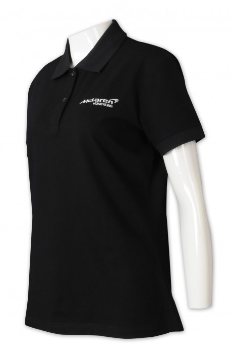 P1323    訂做純色POLO恤    設計刺繡logo    2粒紐扣    電機公司制服    棉拉架    女裝鈕扣