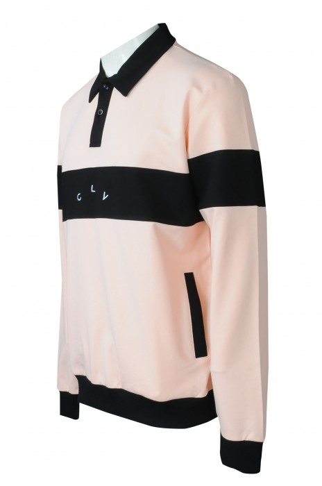 P1325   大量訂製撞色長袖反領polo    設計撞色Polo   5個地方撞色   肚圍有袋設計   Polo恤製衣廠   刺繡logo     零售  荷蘭