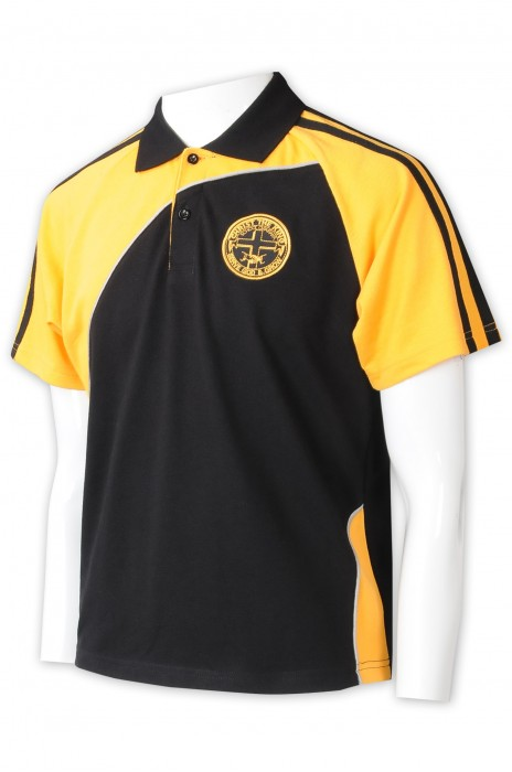 P1326  來樣訂購拼色Polo    來樣訂做絲印logo   Polo恤專門店   黃撞黑  袖兩邊設計黑色橫條   撞色領    校服