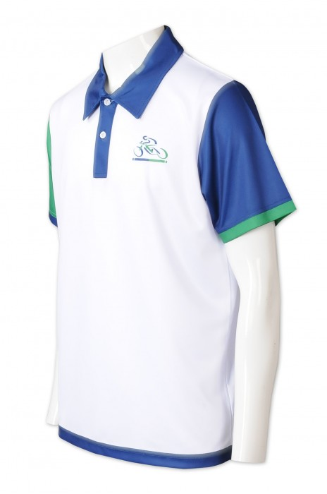 P1327   訂造撞色袖Polo  獨家製造袖不同色   撞色藍色領   印花logo      100%滌