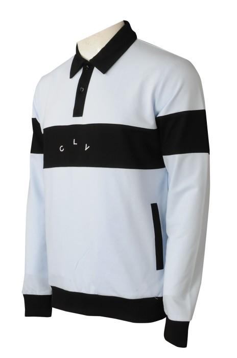 P1328  訂製長袖反領polo 設計撞色Polo恤 5個地方撞色 肚圍有袋設計 Polo恤製衣廠 刺繡logo 零售 荷蘭