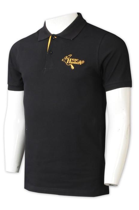 P1329   訂做印花Polo恤    大量訂製純色Polo恤    手鈴藝術    撞色胸貼   2粒鈕