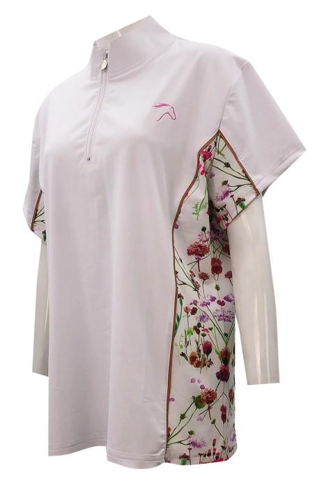 獨家訂造短袖Polo恤   設計拉鏈Polo領   衫側印花    繡花logo     P1344