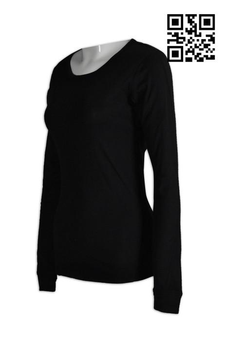 W187設計修身運動衫  訂做淨色女裝功能性運動衫  長袖 駁片 女裝 製造大量運動衫  運動衫生產商    黑色