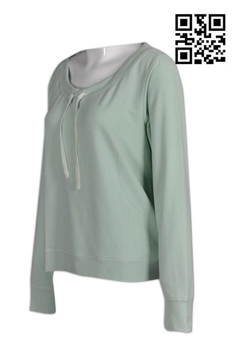 W188製造女裝運動衫  設計個人淨色運動衫  供應運動衫 運動衫制服公司     灰綠色