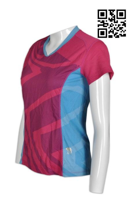 W195 供應拼色運動T恤  波浪格 圓格布紋運動布 設計吸濕排汗T恤  製造活動T恤   T恤制服公司     枚紅色