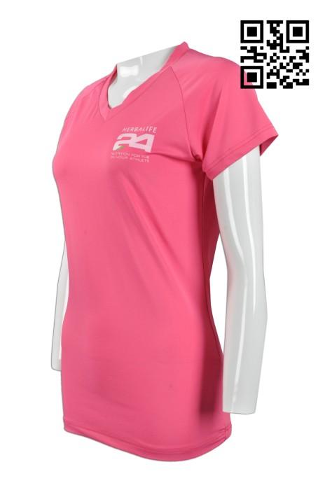 W199 訂購女裝修身運動衫 設計吸濕排汗運動衫  V領 牛角袖 製作透風運動衫 運動衫專營     粉紅色