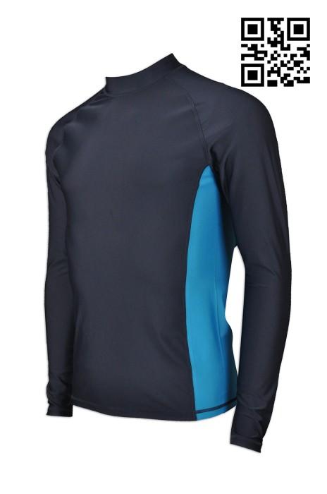 W200  訂做度身運動服款式    製造男裝功能性運動衫款式  游泳 游水防曬   男裝泳衣  彈力潛水料 防UV 防曬衫 自訂功能性運動衫款式   功能性運動服製衣廠