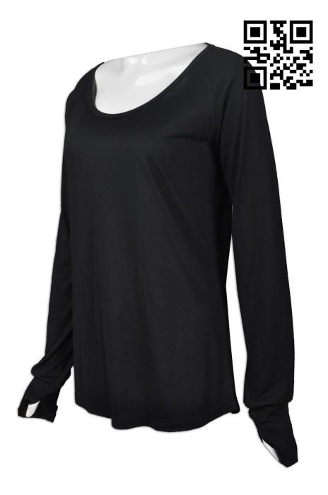 W201 設計個性功能性運動衫   訂做女裝功能性運動衫款式   後幅透氣設計   手指公孔  自訂功能性運動衫    運動衫生產商    黑色