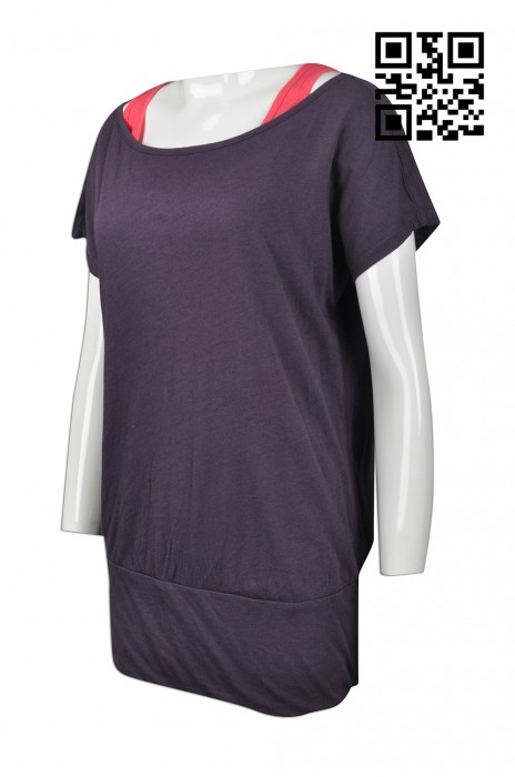 W203 製造度身女裝運動衫   訂做運動衫款式  假2件套 運動背心T恤  女裝   訂造運動衫款式   運動衫工廠   紫色