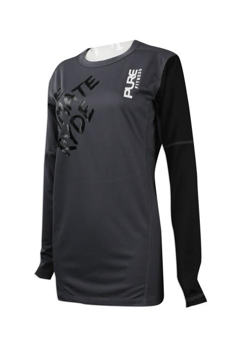 W205 訂製個人功能性運動衫款式 設計拼色款功能性運動衫 室內單車運動衫 功能性運動衫製造商     黑色