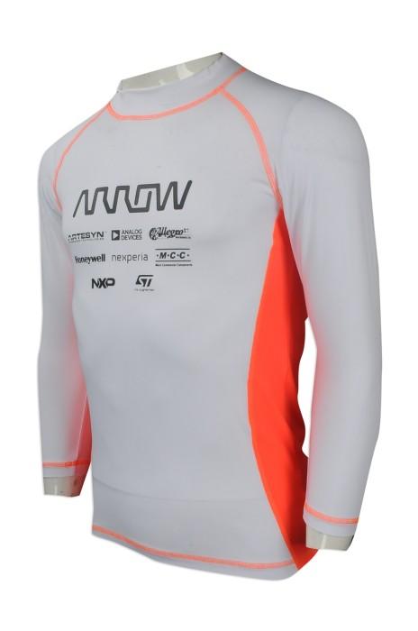 W206 大量訂製功能性運動衫款式 設計蝦蘇線款功能性運動衫 香港  爬龍舟 比賽衫 緊身 高彈力功能性運動衫製造商    白色