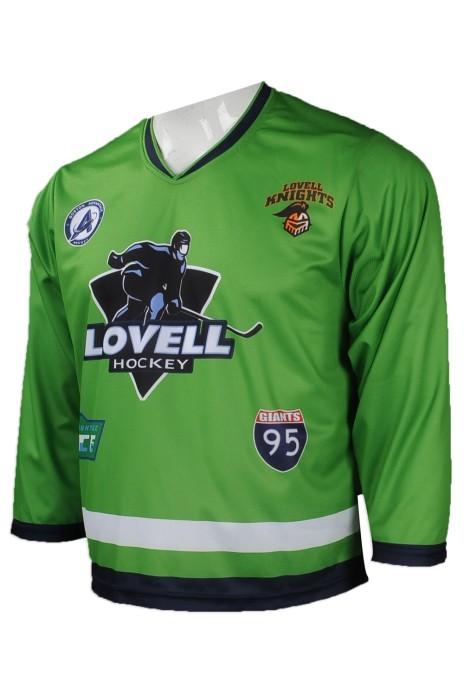 W208 來樣訂製曲棍球隊衫  網上下單 V領曲棍球隊衫款式 美國 OIG 公司 曲棍球隊衫製造商    墨綠色