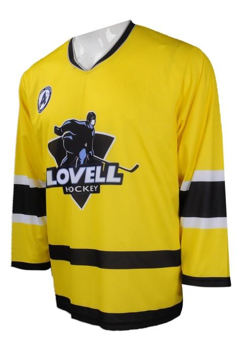 W209  團體訂購曲棍球隊衫  大量訂做V領 寬袖 曲棍球隊衫款式  美國 OIG 公司 曲棍球隊衫批發商     鮮黃色