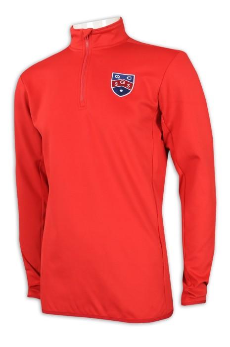 W210 訂購拉鏈長袖運動衫 網上下單運動衫  半拉鍊 肚兜款 運動衫製造商     紅色