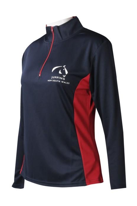 W213  設計撞色半胸拉鏈   長袖企業領    撞色扁機   女裝賽馬訓練服