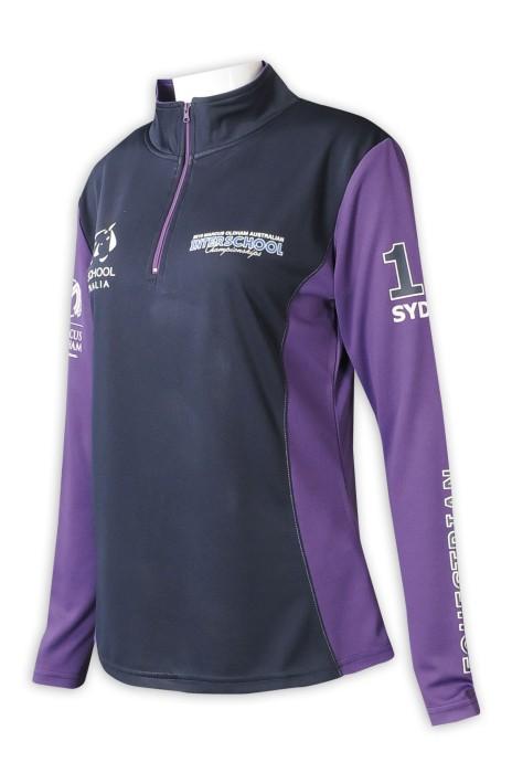 W214  設計長袖運動衫   訂做半胸撞色拉鏈  企業領  撞色袖  撞色扁機    女裝運動衫