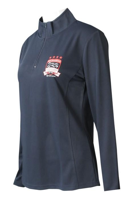 W215  設計半胸拉鏈長袖    企業領   印花logo  繡花logo  針織滿天星布   女裝運動衫