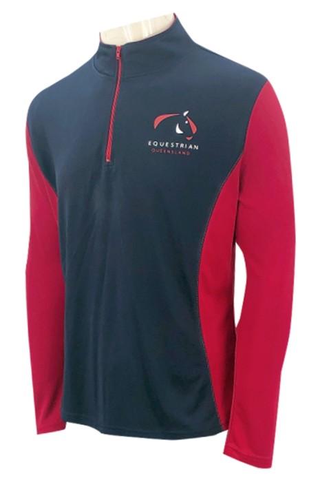 W217   設計半胸拉鏈紅色   企業領    印花logo     網眼運動衫   女裝運動衫   網眼布   100%滌