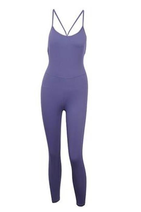 SKTF058   製造長褲一體式緊身運動服  設計交叉肩帶空中瑜伽緊身運動服  緊身運動服供應商