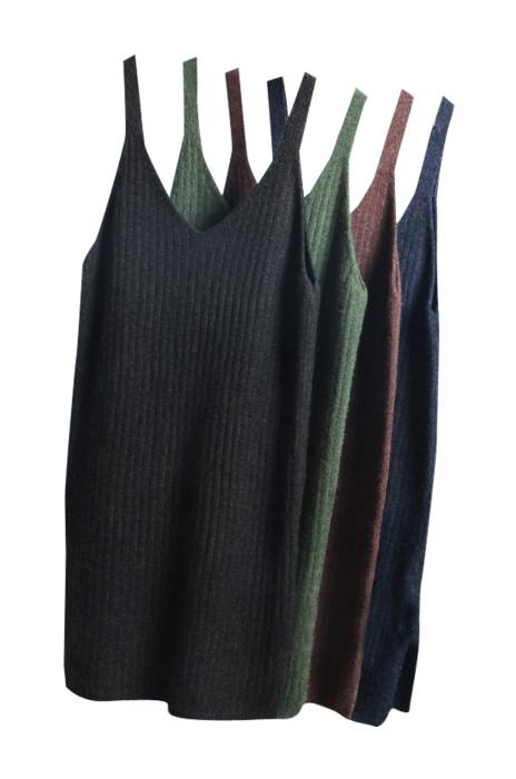 SKSW019 供應中長款針織吊帶連衣裙  背心女毛衣背帶裙子 大量訂造毛衫裙 毛衫裙專門店