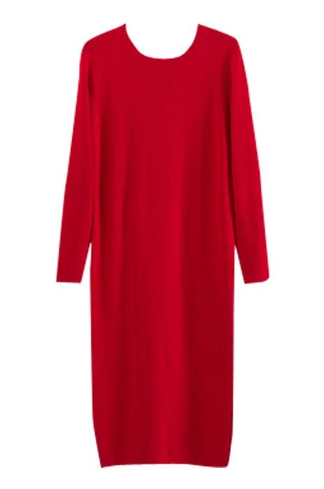 SKSW020 供應長款直筒毛衫裙 細線針織連衣裙 過膝開叉毛衣裙  打底裙休閒裙 毛衫裙製衣廠