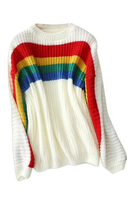 SKSW023 設計拼色彩虹條紋毛衣 供應套頭圓領長袖毛衫 馬海毛針織衫  毛衫專門店