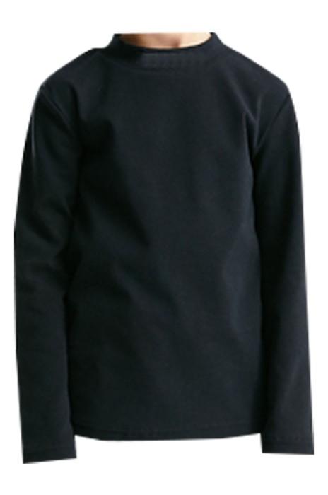 SKSW030   訂製童裝男女童長袖t恤  中大童秋季樽領打底衫   兒童純色上衣    毛衣供應商