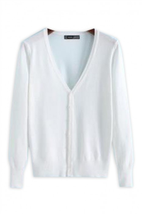 SKSW031 製造長袖冷氣毛衫  設計鈕扣V領淨色辦公室外套 針織外套專門店  線衫鈕扣