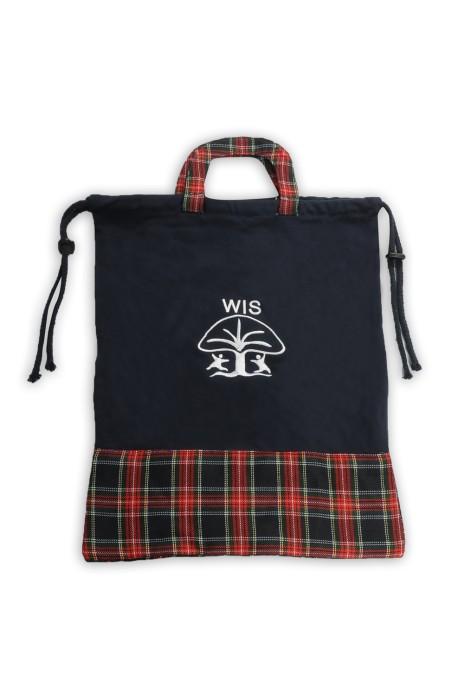EPB028 設計束口帆布袋 抽繩袋 手提帆布袋 格仔撞色款 小學 中學 書包 帆布袋製造商