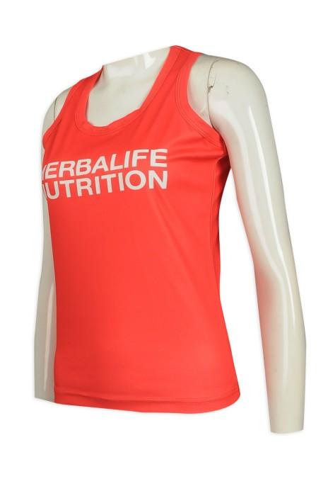 VT213 訂購橙色修身女裝運動背心 背心T恤製衣廠    桃紅色