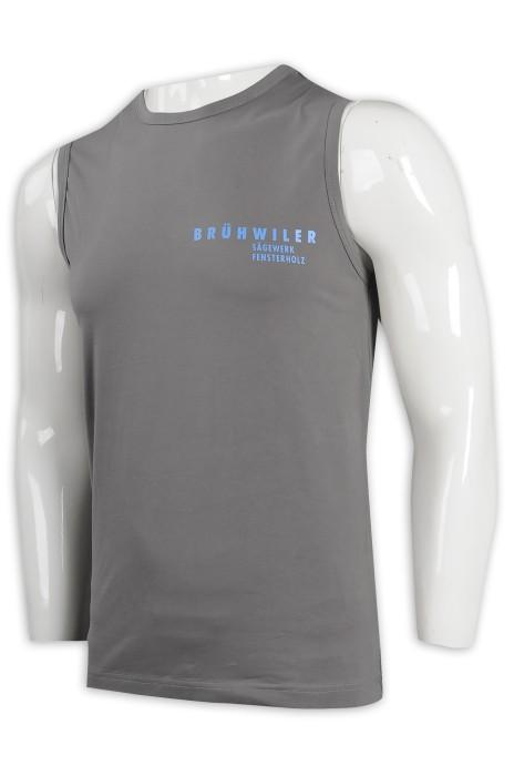VT216 製作男裝工字背心 金融 資產公司 背心T恤製衣廠    灰色