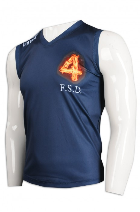 VT217 訂做V領背心T恤 T恤供應商     寶藍色