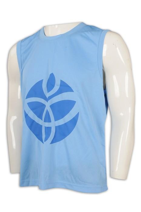 VT220 訂製男裝圓領背心 設計運動背心T恤 160G 網眼布 100%滌 背心製衣廠    天藍色