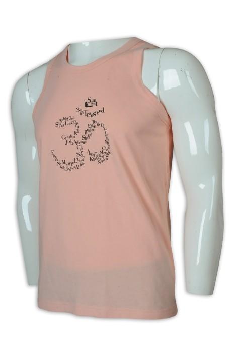VT221 訂做男裝淨色背心T恤 背心T恤供應商    淺粉色