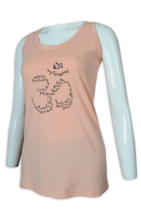 VT223 訂做女裝淨色背心T恤 背心T恤供應商    淺粉色