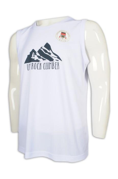 VT224 訂做男裝圓領背心 運動背心T恤 澳門大學 攀岩 攀石 團隊 背心T恤供應商    白色