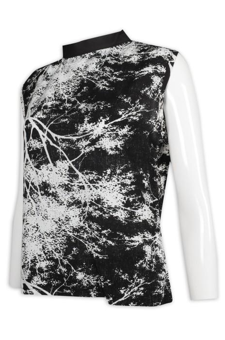 VT225 設計女裝背心T恤 雪花 印花 整件印花 活性印花背心 背心T恤製造商    黑色