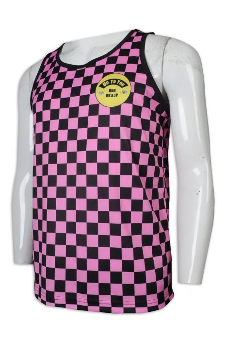 VT227 訂做格子工字背心T恤 熱升華 100%滌 背心T恤供應商    粉色黑色格子