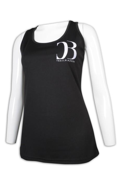 VT228 製作女裝淨色背心 露肩 工衣 長身 背心T恤專門店     黑色