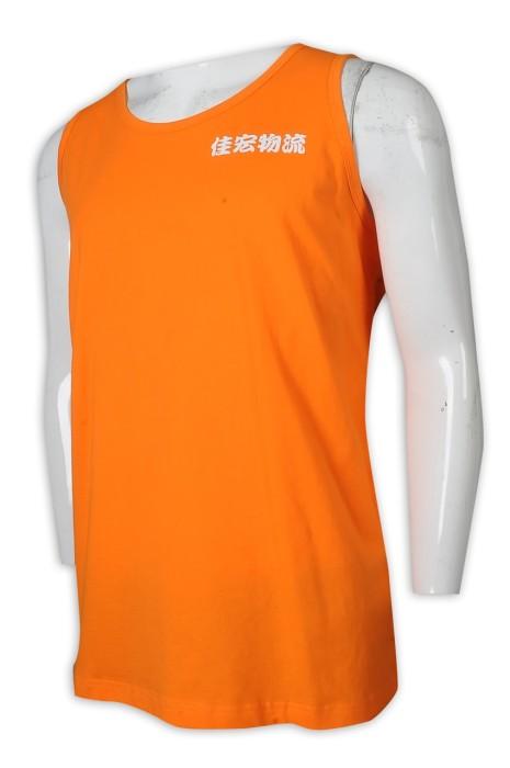 VT232 製造背心T恤 橙色 無袖 男裝 物流公司 背心T恤專門店     橙色